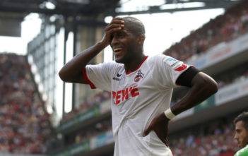 COLOGNE, GERMANY - AUGUST 22: Anthony Modeste of Cologne disappointed during the Bundesliga match between 1. FC Koeln and VfL Wolfsburg at RheinEnergieStadion on August 22, 2015 in Cologne, Germany. (Photo by Mika Volkmann/Bongarts/Getty Images)