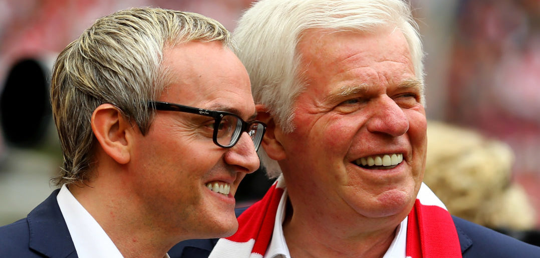 COLOGNE, GERMANY - MAY 23: (L-R) Chairman Alexander Wehrle and vice-president Werner Spinner of Koeln smile prior to the Bundesliga match between 1. FC Koelan and VfL Wolfsburg at RheinEnergieStadion on May 23, 2015 in Cologne, Germany.