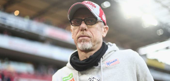 COLOGNE, GERMANY - MAY 05: Peter Stoeger, head coach of Koeln looks on prior to the Bundesliga match between 1. FC Koeln and Werder Bremen at RheinEnergieStadion on May 5, 2017 in Cologne, Germany.