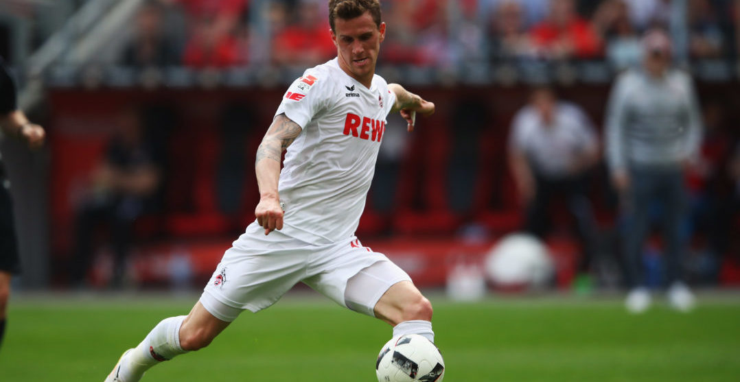 LEVERKUSEN, GERMANY - MAY 13: Simon Zoller of Koeln in action during the Bundesliga match between Bayer 04 Leverkusen and 1. FC Koeln at BayArena on May 13, 2017 in Leverkusen, Germany.