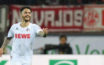 Cologne's midfielder Leonardo Bittencourt celebrate scoring during the German first division Bundesliga football match 1 FC Cologne v TSG 1899 Hoffenheim in Cologne, western Germany, on April 21, 2017.