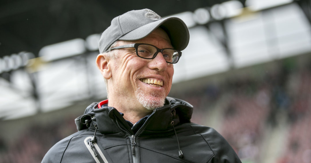 AUGSBURG, GERMANY - APRIL 15: Peter Stoeger, head coach of Cologne is seen during the Bundesliga match between FC Augsburg and 1. FC Koeln at WWK Arena on April 15, 2017 in Augsburg, Germany.