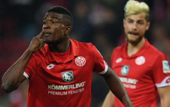 MAINZ, GERMANY - APRIL 05: Jhon Cordoba of Mainz gestures during the Bundesliga match between 1. FSV Mainz 05 and RB Leipzig at Opel Arena on April 5, 2017 in Mainz, Germany.