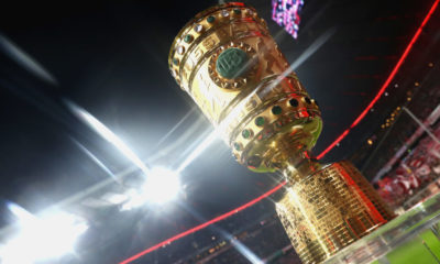 MUNICH, GERMANY - MARCH 01: (EDITORS NOTE: A special effects camera filter was used for this image.) The Germany Cup winners trophy is displayed prior to the DFB Cup quarter final between Bayern Muenchen and FC Schalke 04 at Allianz Arena on March 1, 2017 in Munich, Germany.