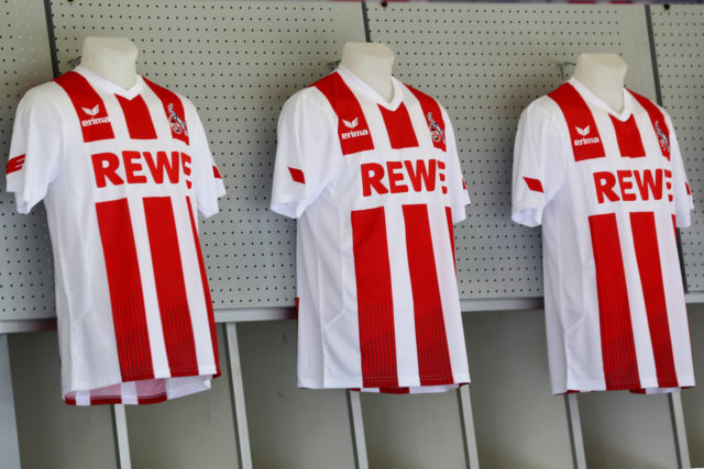 COLOGNE, GERMANY - JULY 03: The fanshop with the new jersey is seen during the training session of 1. FC Koeln at RheinEnergieSportpark on July 3, 2017 in Cologne, Germany.