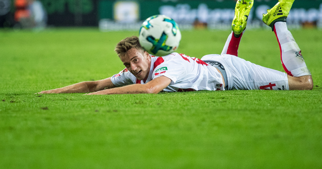 COLOGNE, GERMANY - AUGUST 25: Lukas Kluenter of Koeln looks disappointed during the Bundesliga match between 1. FC Koeln and Hamburger SV at RheinEnergieStadion on August 25, 2017 in Cologne, Germany. (Photo by Lukas Schulze/Bongarts/Getty Images)