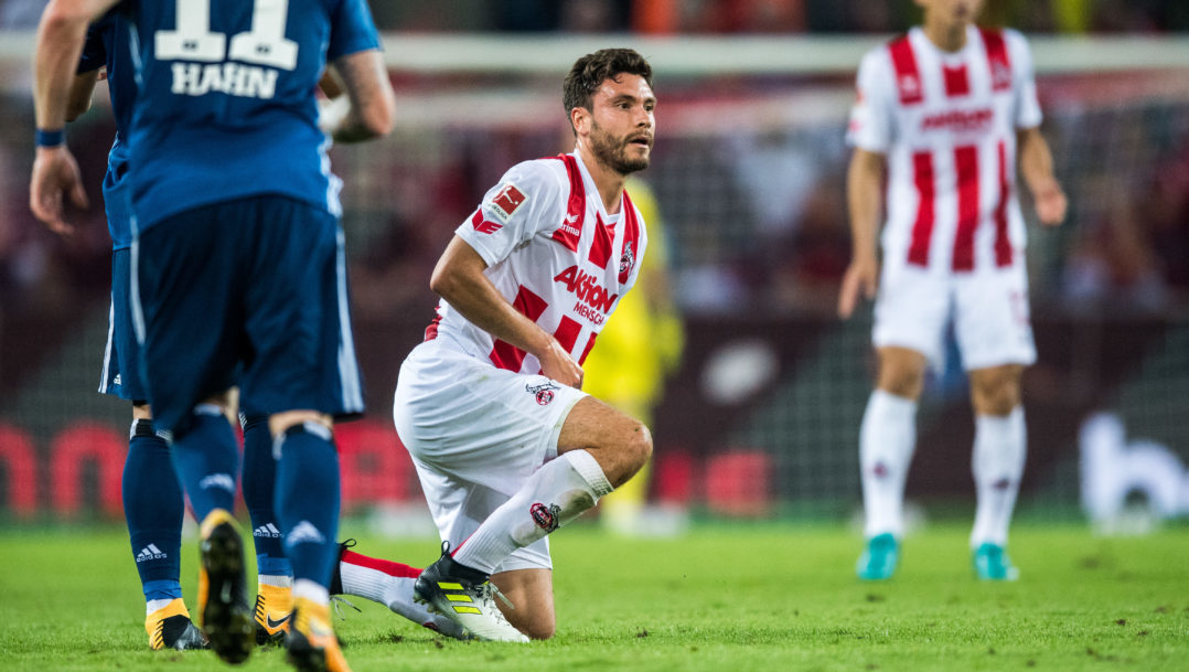 COLOGNE, GERMANY - AUGUST 25: Jonas Hector of Koeln looks disappointed during the Bundesliga match between 1. FC Koeln and Hamburger SV at RheinEnergieStadion on August 25, 2017 in Cologne, Germany. (Photo by Lukas Schulze/Bongarts/Getty Images)