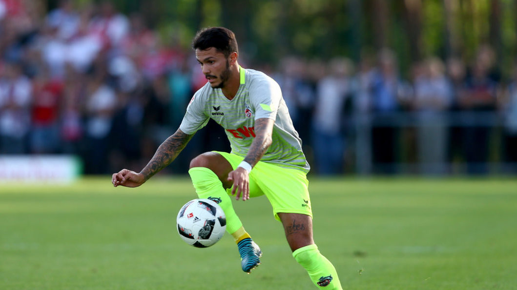 HAIGER, GERMANY - AUGUST 07: Leonardo Bittencourt of Koeln runs with the ball during the preseason friendly match between TSV Steinbach and 1. FC Koeln at Sibre-Sportzentrum Haarwasen on August 7, 2017 in Haiger, Germany.