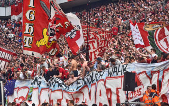 COLOGNE, GERMANY - MAY 20: Fans of Cologne support their team during the Bundesliga match between 1. FC Koeln and 1. FSV Mainz 05 at RheinEnergieStadion on May 20, 2017 in Cologne, Germany. Cologne will play Europe League next season. (Photo by Juergen Schwarz/Bongarts/Getty Images)
