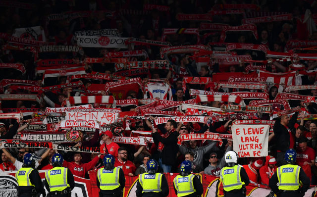 LONDON, ENGLAND - SEPTEMBER 14: FC Koeln supporters display scarves during the UEFA Europa League group H match between Arsenal FC and 1. FC Koeln at Emirates Stadium on September 14, 2017 in London, United Kingdom. (Photo by Dan Mullan/Getty Images)