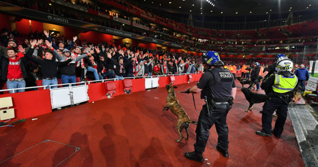 LONDON, ENGLAND - SEPTEMBER 14: Police dogs are brought into the stadium to help control Fc Koeln fans prior to the UEFA Europa League group H match between Arsenal FC and 1. FC Koeln at Emirates Stadium on September 14, 2017 in London, United Kingdom. (Photo by Dan Mullan/Getty Images)