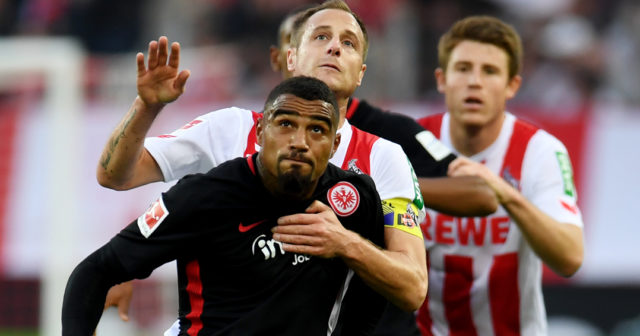 Cologne's midfielder Matthias Lehmann and Frankfurt´s midfielder Kevin-Prince Boateng vie for the ball during the German First division Bundesliga football match 1.FC Cologne vs Eintracht Frankfurt in Cologne, western Germany, on September 20, 2017. / AFP PHOTO / PATRIK STOLLARZ (Photo credit should read PATRIK STOLLARZ/AFP/Getty Images)