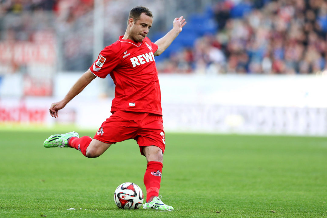 SINSHEIM, GERMANY - NOVEMBER 08: Matthias Lehmann of Koeln scores his team's second goal with a free-kick during the Bundesliga match between 1899 Hoffenheim and 1. FC Koeln at Wirsol Rhein-Neckar-Arena on November 8, 2014 in Sinsheim, Germany. (Photo by Simon Hofmann/Bongarts/Getty Images)