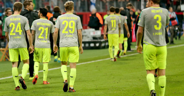 LEVERKUSEN, GERMANY - OCTOBER 28: The team of Kln walks off the pitch dejected after the Bundesliga match between Bayer 04 Leverkusen and 1. FC Koeln at BayArena on October 28, 2017 in Leverkusen, Germany. (Photo by Christof Koepsel/Bongarts/Getty Images)