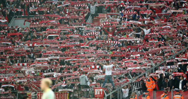 LEVERKUSEN, GERMANY - OCTOBER 28: Supporters of Koeln show their scarves during the Bundesliga match between Bayer 04 Leverkusen and 1. FC Koeln at BayArena on October 28, 2017 in Leverkusen, Germany. (Photo by Maja Hitij/Bongarts/Getty Images)