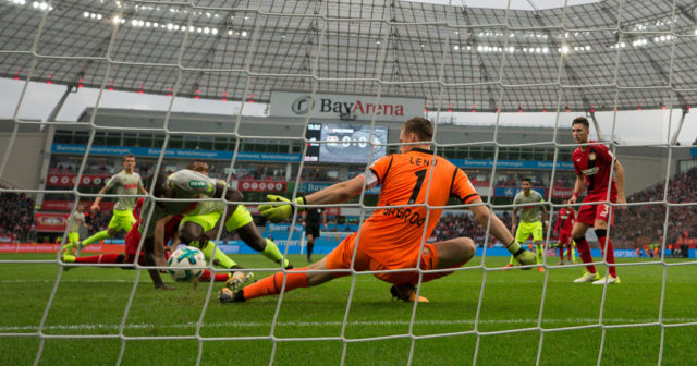 LEVERKUSEN, GERMANY - OCTOBER 28: Beyhan Ametov of Koeln scores his team's first goal past Bernd Leno goalkeeper of Leverkusen to make it 0-1 during the Bundesliga match between Bayer 04 Leverkusen and 1. FC Koeln at BayArena on October 28, 2017 in Leverkusen, Germany. (Photo by Maja Hitij/Bongarts/Getty Images)