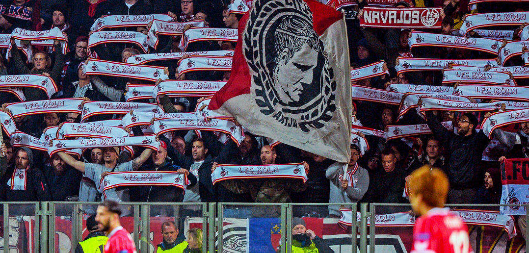 FC Cologne's fans support their team during the UEFA Europa League Group H football match between FC BATE Borisov and FC Cologne in Borisov outside Minsk on October 19, 2017. / AFP PHOTO / Maxim MALINOVSKY (Photo credit should read MAXIM MALINOVSKY/AFP/Getty Images)