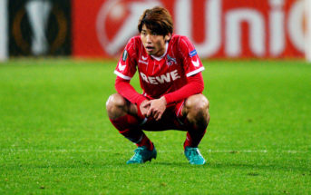 FC Cologne's forward from Japan Yuya Osako reacts after the UEFA Europa League Group H football match between FC BATE Borisov and FC Cologne in Borisov outside Minsk on October 19, 2017. / AFP PHOTO / Maxim MALINOVSKY (Photo credit should read MAXIM MALINOVSKY/AFP/Getty Images)