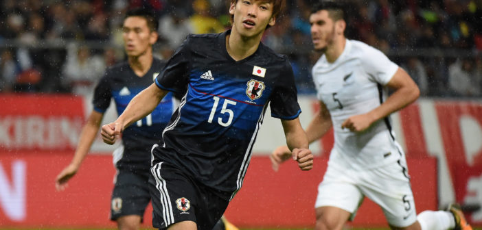 TOYOTA, JAPAN - OCTOBER 06: Yuya Osako of Japan celebrates scoring the opening goal from the penalty spot during the international friendly match between Japan and New Zealand at Toyota Stadium on October 6, 2017 in Toyota, Aichi, Japan. (Photo by Kaz Photography/Getty Images)