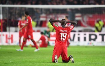 STUTTGART, GERMANY - OCTOBER 13: Sehrou Guirassy of 1.FC Koeln is dejected after losing the Bundesliga match between VfB Stuttgart and 1. FC Koeln at Mercedes-Benz Arena on October 13, 2017 in Stuttgart, Germany. (Photo by Matthias Hangst/Bongarts/Getty Images)