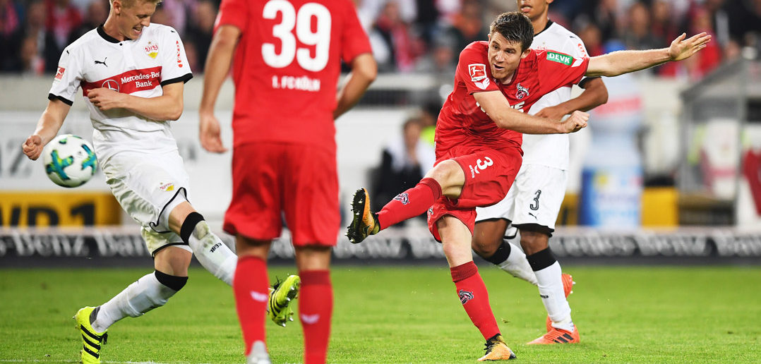 STUTTGART, GERMANY - OCTOBER 13: Dominique Heintz of 1.FC Koeln scores a goal during the Bundesliga match between VfB Stuttgart and 1. FC Koeln at Mercedes-Benz Arena on October 13, 2017 in Stuttgart, Germany. (Photo by Matthias Hangst/Bongarts/Getty Images)