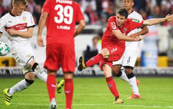 STUTTGART, GERMANY - OCTOBER 13: Dominique Heintz of 1.FC Koeln scores a goal during the Bundesliga match between VfB Stuttgart and 1. FC Koeln at Mercedes-Benz Arena on October 13, 2017 in Stuttgart, Germany. (Photo by Matthias Hangst/Bongarts/Getty Images)