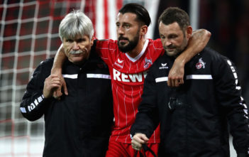 COLOGNE, GERMANY - NOVEMBER 23: Dominic Maroh of FC Koeln is injured and helped off the pitch during the UEFA Europa League group H match between 1. FC Koeln and Arsenal FC at RheinEnergieStadion on November 23, 2017 in Cologne, Germany. (Photo by Maja Hitij/Bongarts/Getty Images)