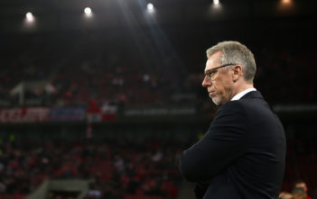 COLOGNE, GERMANY - NOVEMBER 23: Peter Stoeger, coach of FC Koeln looks on prior to the UEFA Europa League group H match between 1. FC Koeln and Arsenal FC at RheinEnergieStadion on November 23, 2017 in Cologne, Germany. (Photo by Maja Hitij/Bongarts/Getty Images)