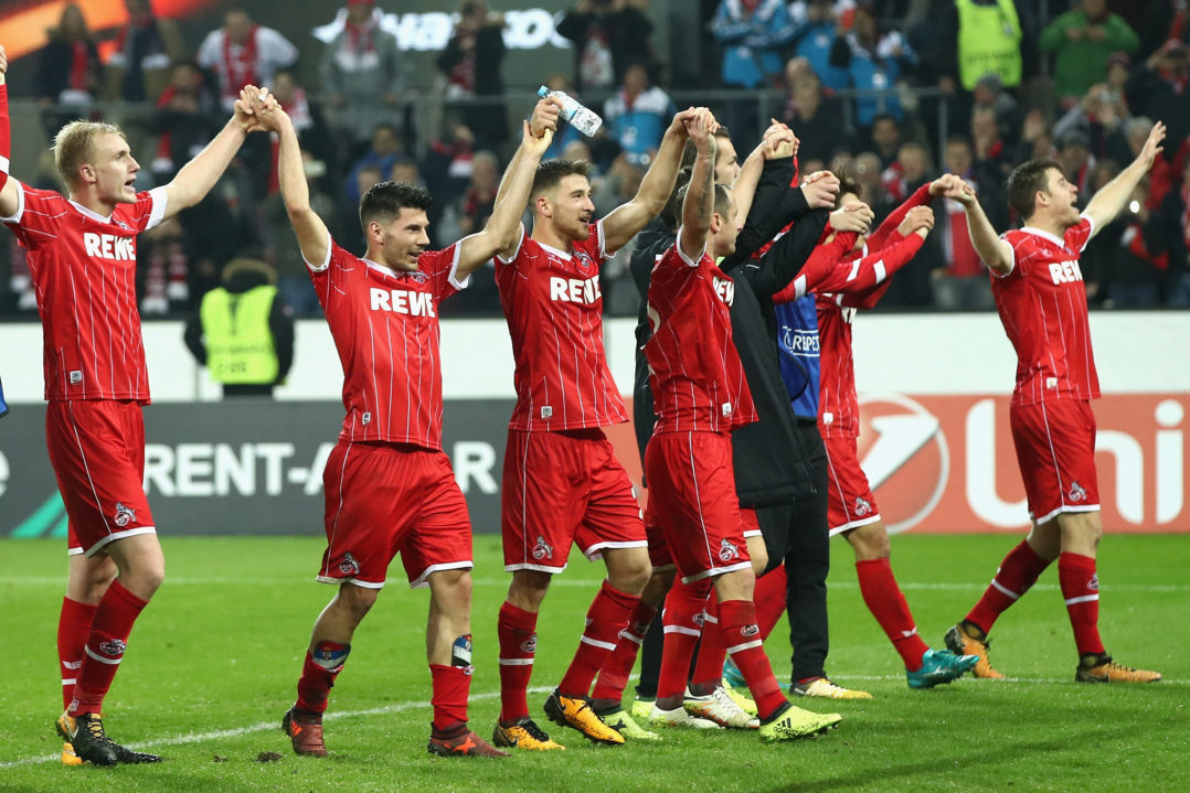 COLOGNE, GERMANY - NOVEMBER 02: FC Koeln show appreciation to the fans after the UEFA Europa League group H match between 1. FC Koeln and BATE Borisov at RheinEnergieStadion on November 2, 2017 in Cologne, Germany. (Photo by Maja Hitij/Bongarts/Getty Images)