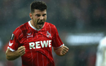 COLOGNE, GERMANY - NOVEMBER 02: Milos Jojic of FC Koeln celebrates after scoring his sides fith goal during the UEFA Europa League group H match between 1. FC Koeln and BATE Borisov at RheinEnergieStadion on November 2, 2017 in Cologne, Germany. (Photo by Maja Hitij/Bongarts/Getty Images)