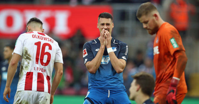 COLOGNE, GERMANY - NOVEMBER 05: Sandro Wagner of Hoffenheim reacts during the Bundesliga match between 1. FC Koeln and TSG 1899 Hoffenheim at RheinEnergieStadion on November 5, 2017 in Cologne, Germany. (Photo by Maja Hitij/Bongarts/Getty Images)