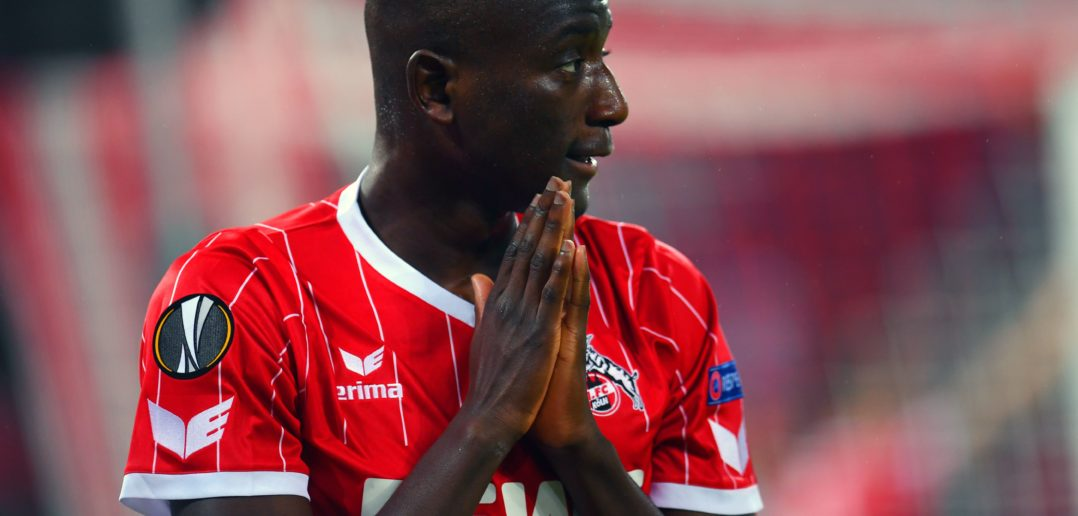 Cologne's French forward Sehrou Guirassy reacts during the UEFA Europa League football match between FC BATE Borisov and FC Cologne on November 2, 2017 in Cologne, western Germany. / AFP PHOTO / Patrik STOLLARZ (Photo credit should read PATRIK STOLLARZ/AFP/Getty Images)