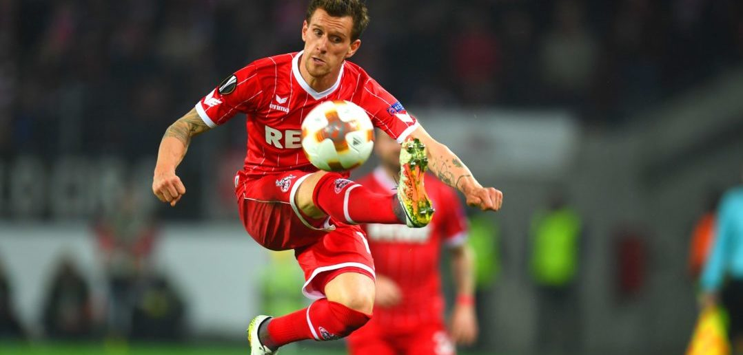 Cologne's German striker Simon Zoller plays the ball during the UEFA Europa League football match between FC BATE Borisov and FC Cologne on November 2, 2017 in Cologne, western Germany. / AFP PHOTO / Patrik STOLLARZ (Photo credit should read PATRIK STOLLARZ/AFP/Getty Images)