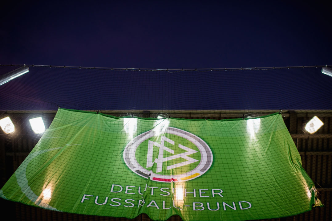 ZWICKAU, GERMANY - NOVEMBER 14: A flag ot the german football Association DFB is seen prior the Under 20 International Friendly match between U20 of Germany and U20 of England at Stadion Zwickau on November 14, 2017 in Zwickau, Germany. (Photo by Thomas Eisenhuth/Bongarts/Getty Images)