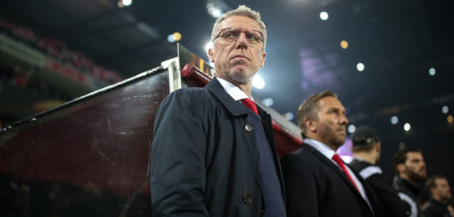 COLOGNE, GERMANY - NOVEMBER 02: Coach Peter Stoeger of Koeln looks on prior the UEFA Europa League group H match between 1. FC Koeln and BATE Borisov at RheinEnergieStadion on November 2, 2017 in Cologne, Germany. (Photo by Maja Hitij/Bongarts/Getty Images)