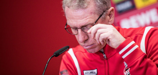COLOGNE, GERMANY - NOVEMBER 05: Coach Peter Stoeger of Koeln looks on during a press conference after the Bundesliga match between 1. FC Koeln and TSG 1899 Hoffenheim at RheinEnergieStadion on November 5, 2017 in Cologne, Germany. (Photo by Maja Hitij/Bongarts/Getty Images)
