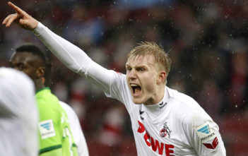 COLOGNE, GERMANY - FEBRUARY 04: Frederik Soerensen of Cologne shouts during the Bundesliga match between 1. FC Koeln and VfL Wolfsburg at RheinEnergieStadion on February 4, 2017 in Cologne, Germany. (Photo by Mika Volkmann/Bongarts/Getty Images)