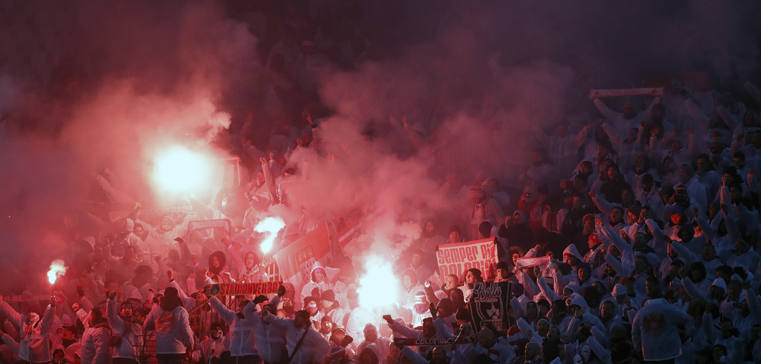 BELGRADE, SERBIA - DECEMBER 07: FC Koeln fans light torches prior to the UEFA Europa League group H match between Crvena Zvezda and 1. FC Koeln at stadium Rajko Mitic on December 7, 2017 in Belgrade, Serbia. (Photo by Srdjan Stevanovic/Getty Images)