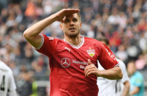 FRANKFURT AM MAIN, GERMANY - SEPTEMBER 30: Simon Terodde of Stuttgart celebrates after he scored his teams first goal to make it 1:1 during the Bundesliga match between Eintracht Frankfurt and VfB Stuttgart at Commerzbank-Arena on September 30, 2017 in Frankfurt.