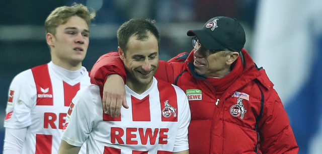 GELSENKIRCHEN, GERMANY - DECEMBER 02: Matthias Lehmann of Koeln (l) speaks with Peter Stoeger, coach of Koeln, after the Bundesliga match between FC Schalke 04 and 1. FC Koeln at Veltins-Arena on December 2, 2017 in Gelsenkirchen, Germany. (Photo by Christof Koepsel/Bongarts/Getty Images)