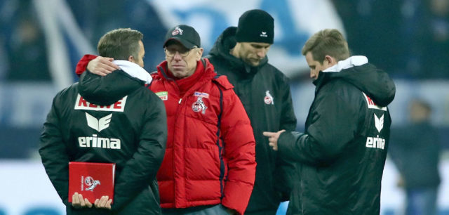 GELSENKIRCHEN, GERMANY - DECEMBER 02: (L-R) Assistant coach Manfred Schmid and head coach Peter Stoeger of Koeln come together after the 2-2 draw of the Bundesliga match between FC Schalke 04 and 1. FC Koeln at Veltins-Arena on December 2, 2017 in Gelsenkirchen, Germany. (Photo by Christof Koepsel/Bongarts/Getty Images)