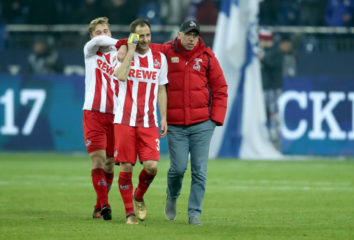 GELSENKIRCHEN, GERMANY - DECEMBER 02: (L-R) Matthias Lehmann and head coach Peter Stoeger of Koeln ealk off the opitch after the 2-2 draw of the Bundesliga match between FC Schalke 04 and 1. FC Koeln at Veltins-Arena on December 2, 2017 in Gelsenkirchen, Germany.