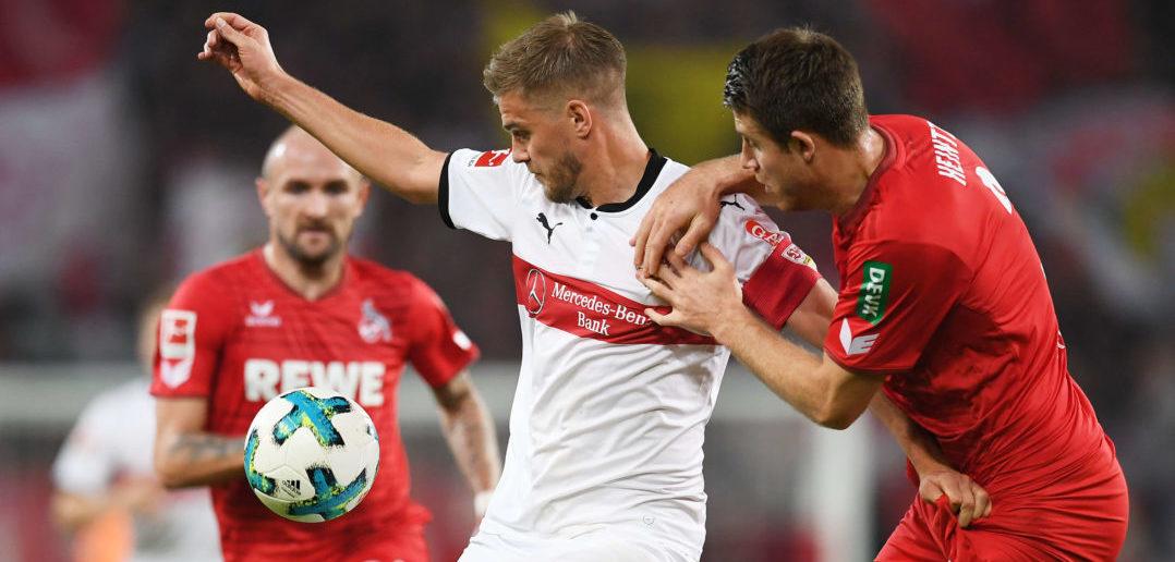 during the Bundesliga match between VfB Stuttgart and 1. FC Koeln at Mercedes-Benz Arena on October 13, 2017 in Stuttgart, Germany.