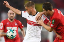 during the Bundesliga match between VfB Stuttgart and 1. FC Koeln at Mercedes-Benz Arena on October 13, 2017 in Stuttgart, Germany.