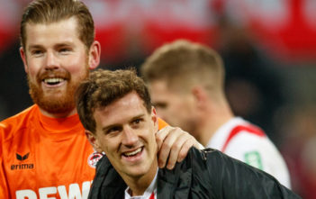 COLOGNE, GERMANY - JANUARY 14: Timo Horn of Koeln celebrates with Simon Zoller of Koeln after winning the Bundesliga match between 1. FC Koeln and Borussia Moenchengladbach at RheinEnergieStadion on January 14, 2018 in Cologne, Germany. (Photo by Lars Baron/Bongarts/Getty Images