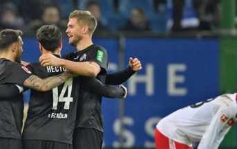 HAMBURG, GERMANY - JANUARY 20: The players of Cologne celebrate at the end of the Bundesliga match between Hamburger SV and 1. FC Koeln at Volksparkstadion on January 20, 2018 in Hamburg, Germany. (Photo by Stuart Franklin/Bongarts/Getty Images)