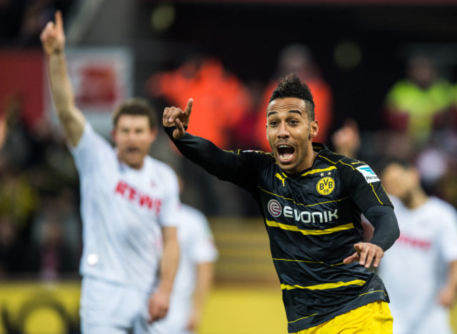COLOGNE, GERMANY - DECEMBER 10: Pierre-Emerick Aubameyang of Dortmund reacts during the Bundesliga match between 1. FC Koeln and Borussia Dortmund at RheinEnergieStadion on December 10, 2016 in Cologne, Germany. (Photo by Lukas Schulze/Bongarts/Getty Images)