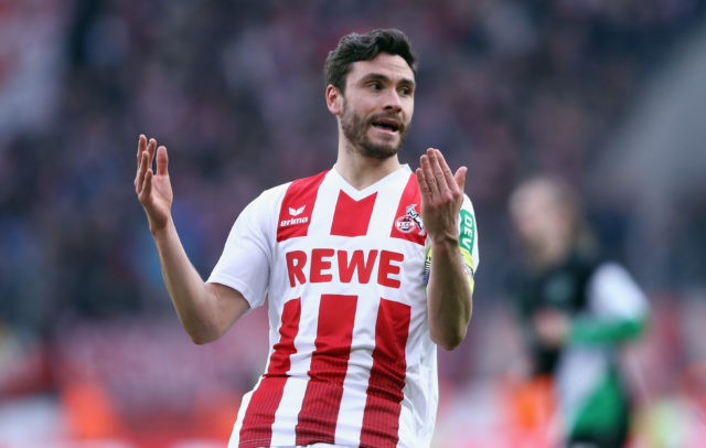 COLOGNE, GERMANY - FEBRUARY 17: Jonas Hector of Koeln reacts during the Bundesliga match between 1. FC Koeln and Hannover 96 at RheinEnergieStadion on February 17, 2018 in Cologne, Germany. (Photo by Alex Grimm/Bongarts/Getty Images)