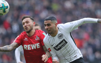 FRANKFURT AM MAIN, GERMANY - FEBRUARY 10: Omar Mascarell of Frankfurt (r) fights for the ball with Marco Hoeger of Koeln during the Bundesliga match between Eintracht Frankfurt and 1. FC Koeln at Commerzbank-Arena on February 10, 2018 in Frankfurt am Main, Germany. (Photo by Simon Hofmann/Bongarts/Getty Images)