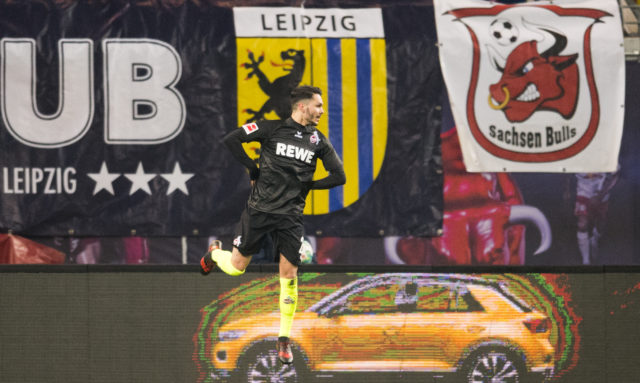 Cologne´s midfielder Leonardo Bittencourt celebrates scoring during the German first division Bundesliga football match RB Leipzig vs FC Cologne in Leipzig, eastern Germany, on February 25, 2018. / AFP PHOTO / ROBERT MICHAEL / RESTRICTIONS: DURING MATCH TIME: DFL RULES TO LIMIT THE ONLINE USAGE TO 15 PICTURES PER MATCH AND FORBID IMAGE SEQUENCES TO SIMULATE VIDEO. == RESTRICTED TO EDITORIAL USE == FOR FURTHER QUERIES PLEASE CONTACT DFL DIRECTLY AT + 49 69 650050 (Photo credit should read ROBERT MICHAEL/AFP/Getty Images)